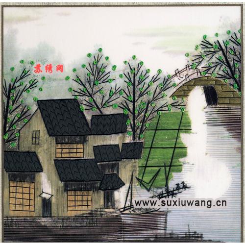 风景 >> 飞线美图 苏绣软裱绣片 纯手工刺绣 装饰画 小桥流水之夏