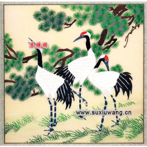>> 苏绣软裱 纯手工刺绣 装饰画 丹顶鹤