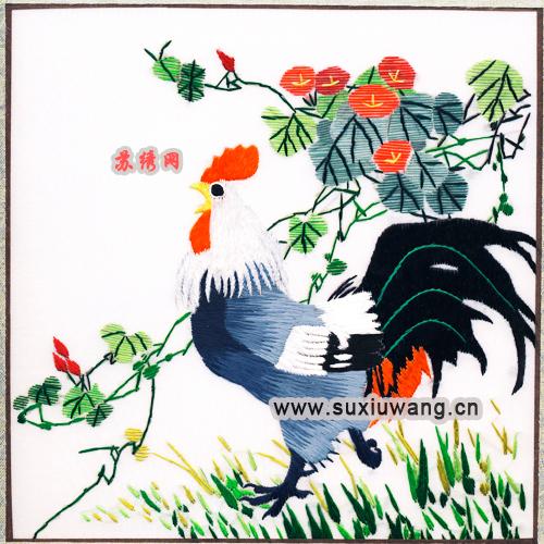 飞线美图 苏绣软裱绣片 纯手工刺绣 装饰画 公鸡打鸣