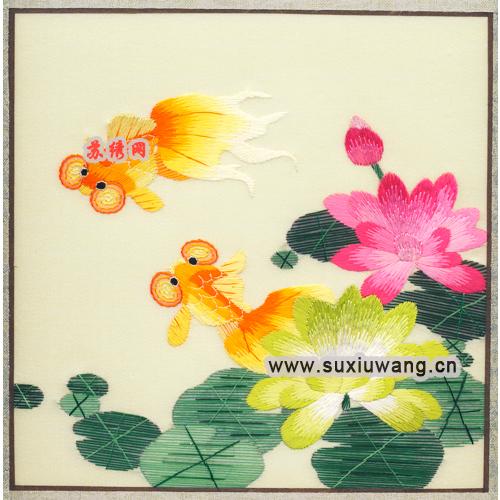 苏绣软裱 纯手工刺绣 装饰画 苏绣成品 金鱼与荷花