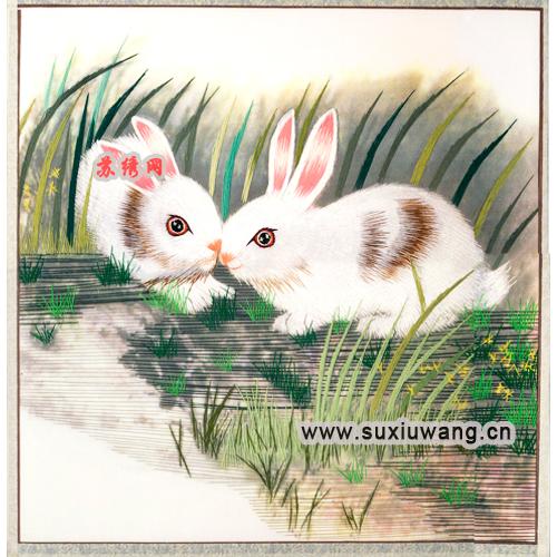 苏绣软裱 纯手工刺绣 装饰画 兔年吉祥 两只小白兔 (500x500)