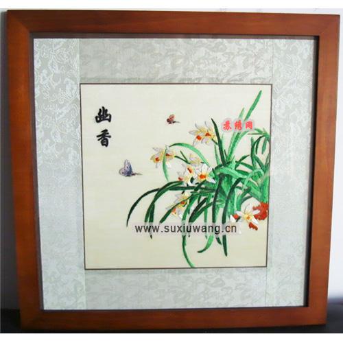 纯手工刺绣 兰花